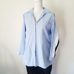 Zara Woman Blue Button Front Striped Sport Blouse